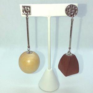 Asymmetrical Wooden Earrings